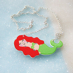 Girl's Mermaid Acrylic Children's Necklace