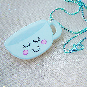 Quirky Teacup Acrylic Fashion Necklace