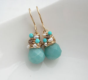 Amazonite Gemstone Earrings - earrings