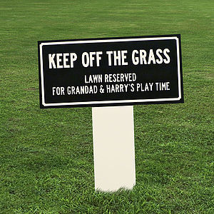 Personalised 'Keep Off The Grass' Enamel Sign - art & decorations