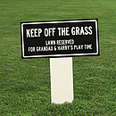 Personalised 'Keep Off The Grass' Enamel Sign