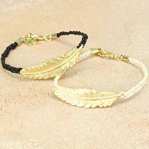 Golden Feather Bracelet - women's jewellery