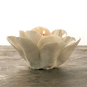 Porcelain Rose Tealight Holder - candles & candlesticks