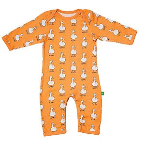 Organic Pip The Duck Print Playsuit - children's clothing