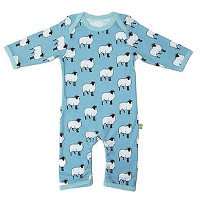 Organic Angus The Sheep Print Playsuit - bodysuits & all-in-ones