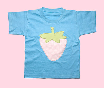 Girls Strawberry Applique T Shirt