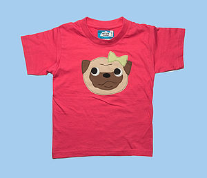 Girl's Pug Applique T Shirt