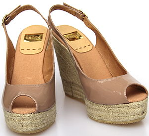 Nude Leather Wedge Espadrille Sandal - shoes & boots