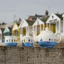 Beach Hut Teapot with Milk Jug and Sugar Pot