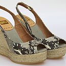 Snake Effect Leather Wedge Espadrille Sandal