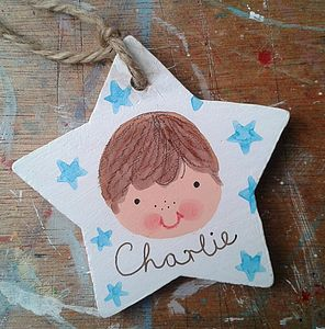 Personalised Boys Gift Tag Decoration - personalised