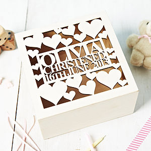 Personalised Heart Christening Keepsake Box - storage & organisers