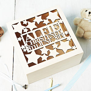 Personalised Star Christening Keepsake Box - home sale