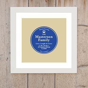 'Family Lives Here' Plaque Print