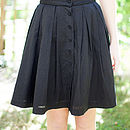 Lace Trim Pleat Skirt - Black