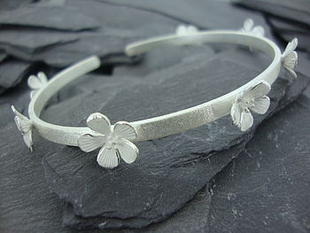 Silver Hibiscus Flower Cuff Bangle