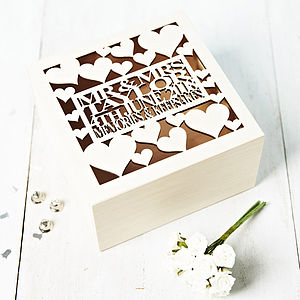 Personalised Heart Wedding Gift Keepsake Box - storage & organisers