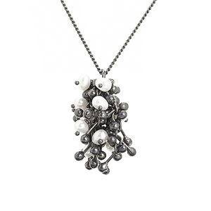 Sliver And Pearl Cluster Necklace - necklaces & pendants