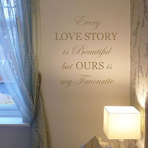 'Every Love Story Is Beautiful' Wall Sticker - wall stickers