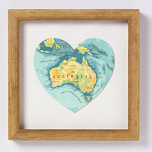 Australia Map Heart Print - personalised