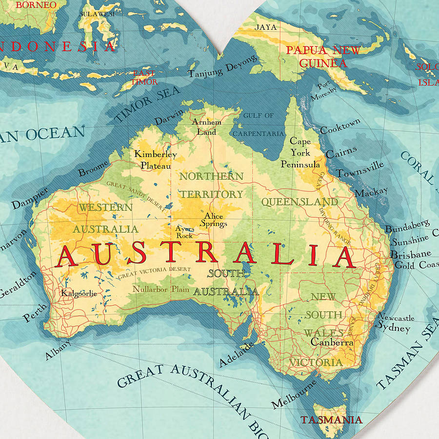 Australia Map Picture.Australia Map Heart Print By Bombus Off The Peg Notonthehighstreet Com