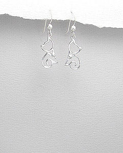 Sterling Silver Cat Earrings - earrings