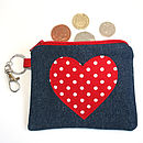 Spotty Heart Denim Purse