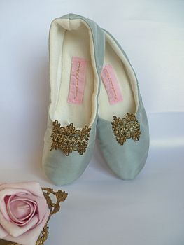 Silk Slippers With Piere Frey Brocade Trim