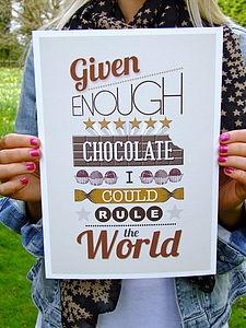 'Given Enough Chocolate' Print   Sale