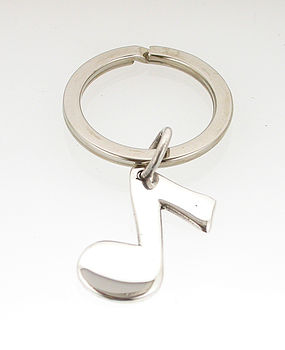 Silver Eighth Musical Note Keyring