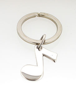 Silver Eighth Musical Note Keyring - men's accessories