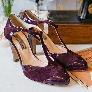 Elsie Suede And Patent T Bar Shoes