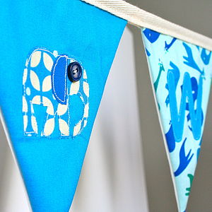 Boy's Personalised Elephant Bunting - baby's room