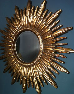 Antique Gold Sunburst Mirror - bedroom