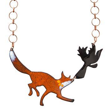 Fox And Crow Enamel Necklace