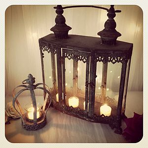 Zinc Metal Garden Lantern - candles & candlesticks