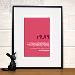 Personalised Mum's Favourite Things Print - typography