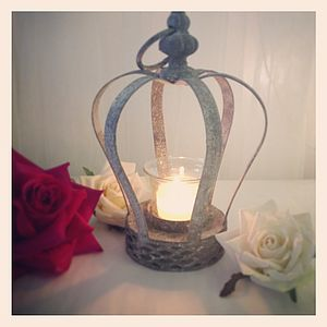 Tea Light Holder Crown Lantern - candles & candlesticks