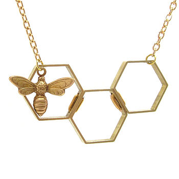 Honey Bee Hexagon Necklace