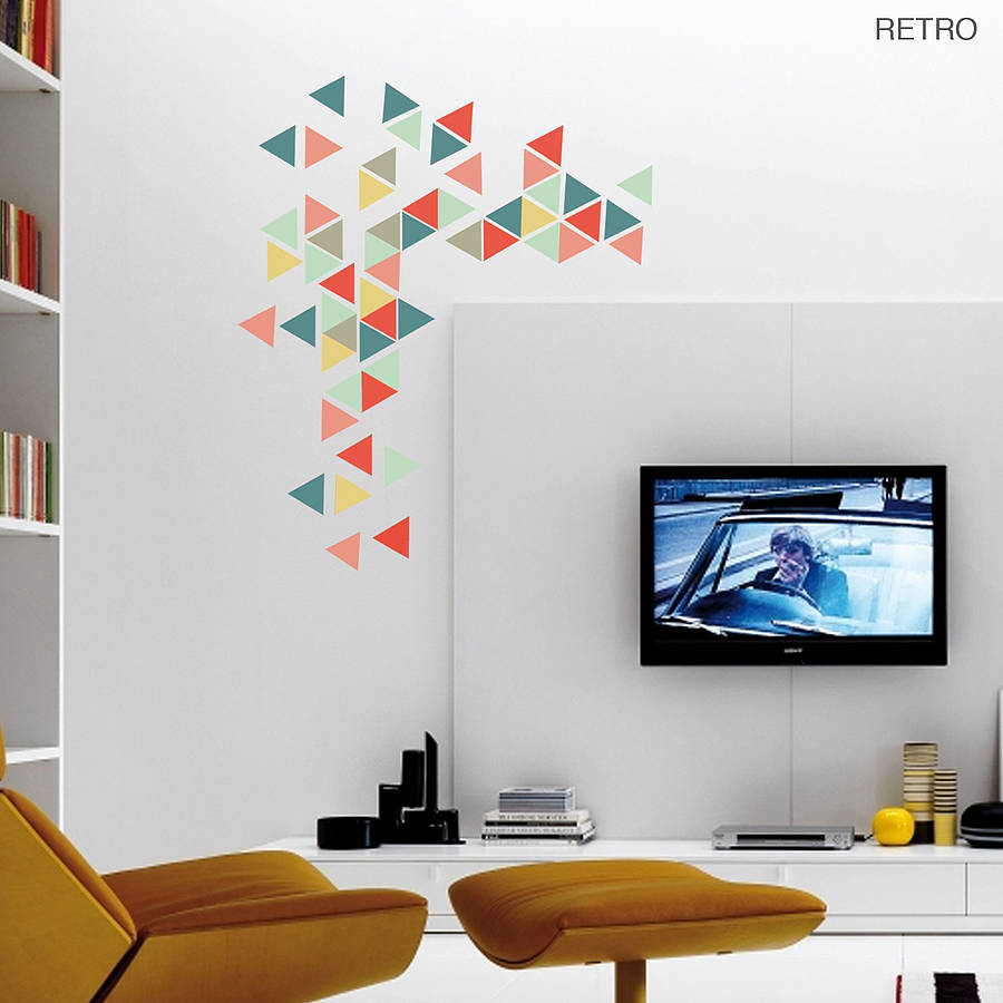 geometric triangles vinyl wall sticker set by oakdene large geometric triangle vinyl wall stickers by oakdene