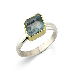 Aquamarine And Silver Ring Set In 18ct Gold - rings