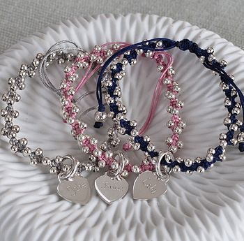 Personalised Silver Heart Friendship Bracelet