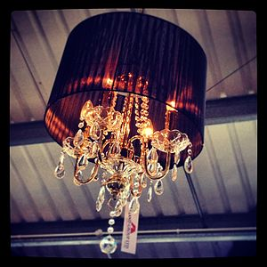 Shaded Chandelier With Crystal Drops - ceiling lights