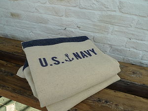 Cream And Blue US Navy Stripe Blanket - bedroom