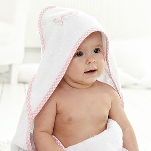 Personalised Pink Luxury Hooded Towel - baby's first Christmas