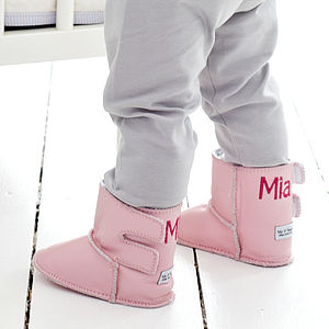 Personalised Leather Pink Sheepskin Booties