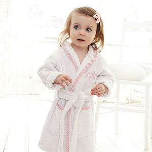 Personalised Pink Gingham Robe - gifts for babies