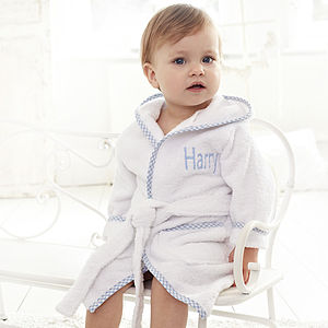 Personalised Blue Gingham Robe - bathtime