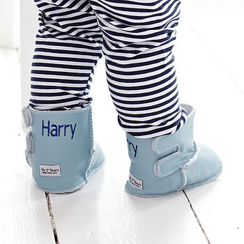 Personalised Leather Blue Sheepskin Booties