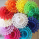 Set Of 10 Coloured Paper Snowflakes